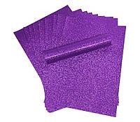 Бумага с глиттером (блестками) Фиолетовая самоклейка 20x30 см А4 1 шт, фото 1