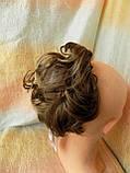 Резинка шиньон из волос русый с мелированием 0215А-8Н124, фото 3