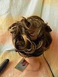 Резинка шиньон из волос русый с мелированием 0215А-8Н124, фото 4