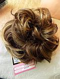 Резинка шиньон из волос русый с мелированием 0215А-8Н124, фото 5