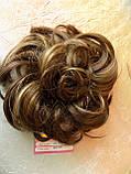 Резинка шиньон из волос русый с мелированием 0215А-8Н124, фото 6