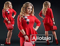 Платье с баской украшенное цветочной аппликацией-красный, фото 1