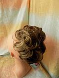 Резинка шиньон из волос светло-русый с мелированием 0215A-12Н124, фото 2