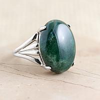 Яшма зеленая, серебро 925, кольцо, 854КЯ