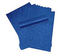 Бумага с глиттером (блестками) Синяя самоклейка 20x30 см А4 1 шт