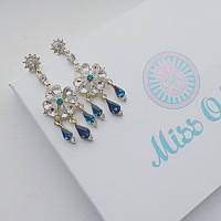 Серьги Кристальный цветок голубой