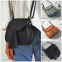 Женская сумка через плечо с ручкой и кисточкой Treysi