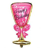 Фольгированный шарик Бокал розовый большой, 90 * 48 см