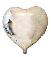Шар фольгированный Сердце серебро голограмма, 43*48 см