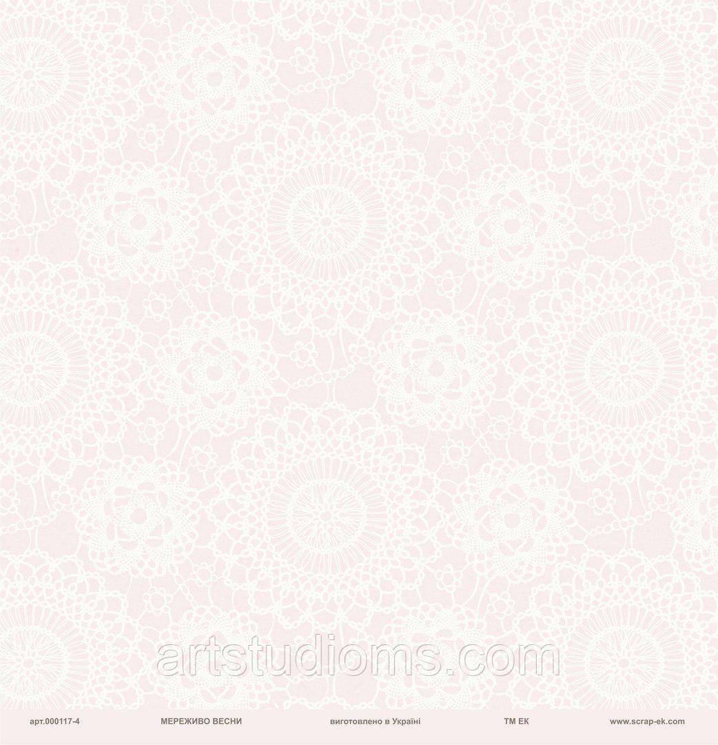 """Дизайнерская бумага Кружево на розовом фоне,  размер 30х30 см """"Мереживо весни"""" ЕК"""