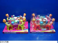 Мебель 2 вида,с куклами,с посудой,под слюдой 23*17см /48-2/(A8-55)