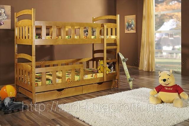 """Кровать из дерева с бортами двухъярусная """"Винни-Пух"""""""