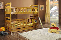 """Деревянная детская двухъярусная кровать """"Винни-Пух"""""""