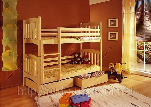"""Детская двухъярусная кровать для мальчика и девочки """"Мишутка"""""""