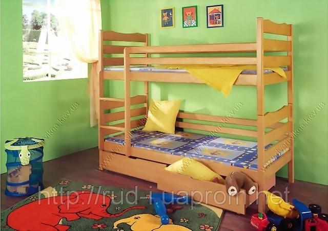 """Кровать из массива дерева двухъярусная """"Слоненок"""""""