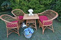 Меблів з ротангу на терассу 4 ел. Обідній стіл 60см світлий