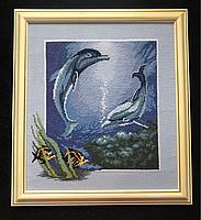 """Картина вышитая крестом """"Влюбленный дельфины"""""""