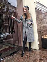 Весеннее женское пальто на две пуговицы