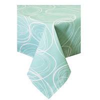 Скатерть на стол водоотталкивающая с тефлоновым покрытием 100% хлопок Круги на зеленом 136 х 136 см