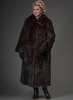 Классическое пальто из норки махагон, силуэт- трапеция 110 см, фото 1