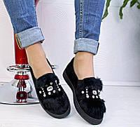 Женские туфли мокасины с опушкой, фото 1