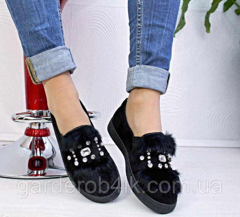 Женские туфли мокасины с опушкой