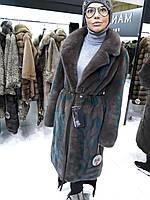 Норковое пальто из аукционного   меха с инкрустацией