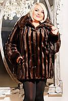 Шуба женская Эко мех норка Саманта коричневая полоса, шубы интернет магазин