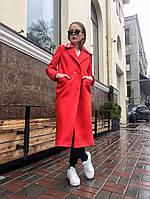 Красное демисезонное пальто на две пуговицы