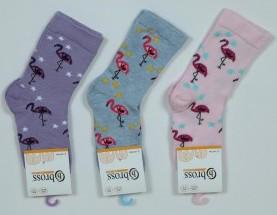 Р. 34-36 ( 9-11 лет )   носочки детские Bross демисезонные фламинго