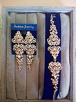Комплект под золото удлиненные вечерние серьги и браслет, высота 8 см. , фото 1