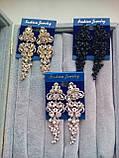 Комплект під золото подовжені вечірні сережки і браслет, висота 8 см., фото 4
