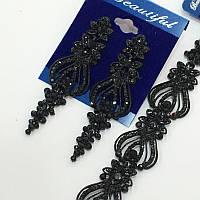 Комплект удлиненные вечерние серьги  с  черными камнями и браслет, высота 7 см. , фото 1