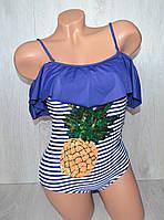 Модный слитный купальник бандо с накаткой ананаса из пайеток