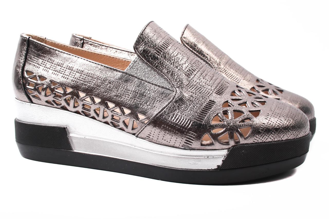 Туфли женские Guero натуральная кожа, цвет бронза (платформа, стильные, комфорт, лето, Турция)