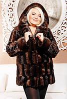 Шуба женская Эко мех Диана коричневый паркет, искусственные шубы