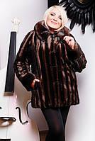 Шуба женская Эко мех Диана коричневая полосатая норка, искусственные шубы
