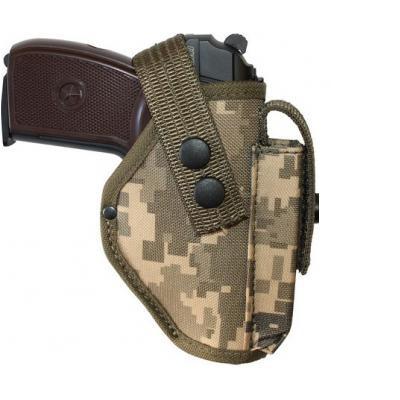 Кобура поясная для пистолета Макарова с чехлом под запасной магазин.