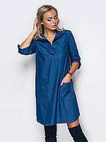 97acfda80e0 Женское джинсовое стильное платье-рубашка р.44