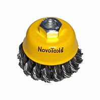 Щетка по металлу для болгарки торцевая плетеная сталь  75 мм NovoTools, фото 1