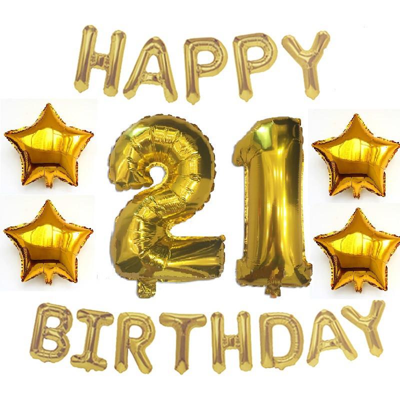 Композиция из Фольгированных шаров на 21 год HAPPY BIRTHDAY + звёзды золотая