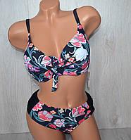 Женский раздельный купальник с цветочным принтом, увеличенный