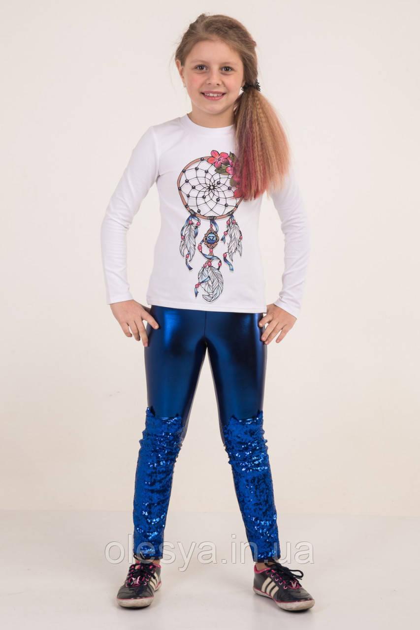 """Красивые лосины на девочку экокожа с пайетками """"Котики"""" Размеры 116- 134"""