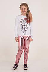 """Красивые лосины на девочку экокожа с пайетками """"Котики"""" Размеры 116- 140"""
