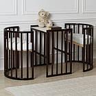 """Детская кроватка """"Луна"""" круглая трансформер 7в1 с маятником, слоновая кость, фото 7"""