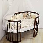 """Детская кроватка """"Луна"""" круглая трансформер 7в1 с маятником, слоновая кость, фото 8"""