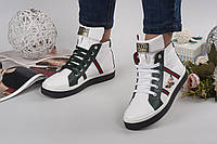 Кеды женские Gucci высокие из натуральной кожи Гуччи кожаные на шнуровке белые