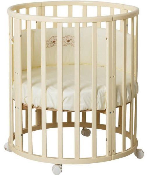 """Детская кроватка """"Луна"""" круглая трансформер 7в1 с маятником, слоновая кость"""