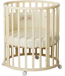 """Детская кроватка """"Луна"""" круглая трансформер 7в1 слоновая кость"""