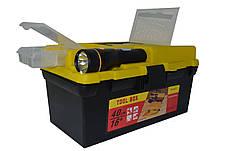"""Ящик для инструмента 16"""" с фонариком пластиковый замок 395*220*200 ммHtools79K021"""